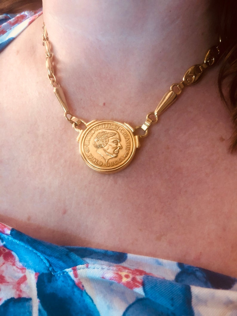 3f856c48613 Rare Vintage Paolo Gucci Coin Necklace Authentic 18 Karat