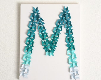 butterfly teal ombre letter wall decor baby girls boys nursery room letters decor party custom personalized name wall hanging gift idea cute