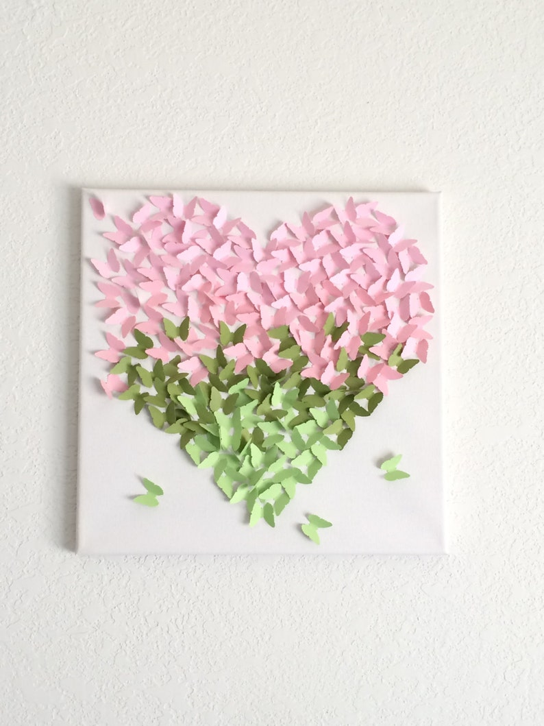 Floral Theme 3d Butterfly Heart Canvas Art Baby Room Decor Floral Nursery Decor Pink Flowers Matching Bedding Decor Decor For Girls