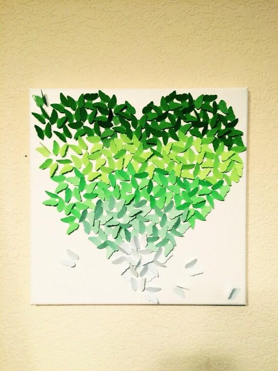 Schmetterling Herz Grun Farbverlauf Leinwand Art Handgemachte Etsy