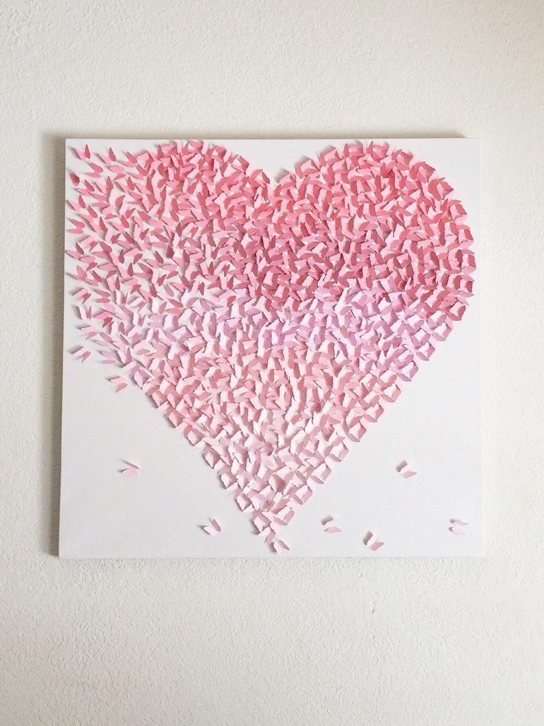 Ombre rose doux papillon coeur toile fait la main art mural etsy - Tenture chambre bebe ...
