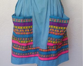 Vintage 1970s Half Apron Large Pockets Blue