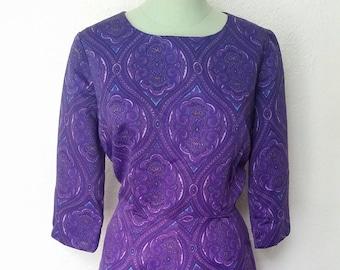 Vintage Mod 1960s Purple Paisley Day Dress Large