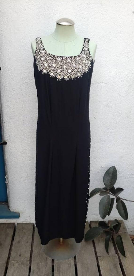 Vintage 1960s Black Maxi Cocktail Dress Rhinestone