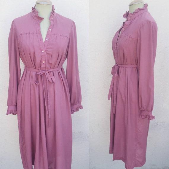 Vintage 1970s Mauve Shirt Dress Prairie Dress - image 1