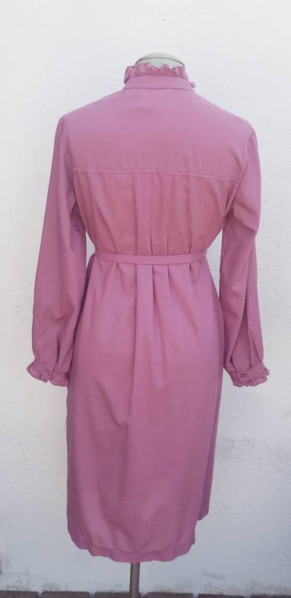 Vintage 1970s Mauve Shirt Dress Prairie Dress - image 4