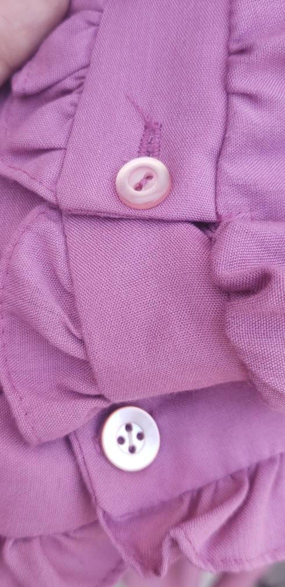 Vintage 1970s Mauve Shirt Dress Prairie Dress - image 5