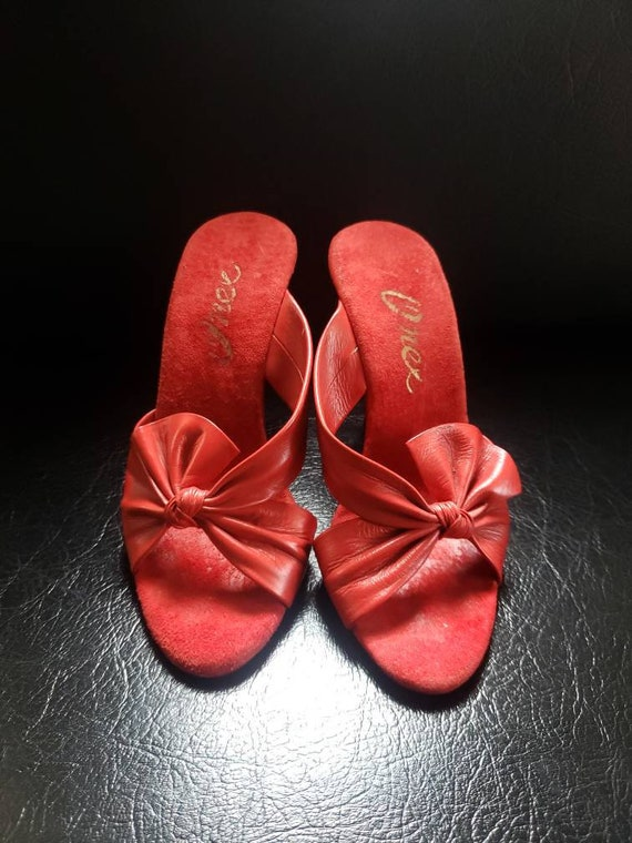 Vintage 1980s Red Leather Heels Mules Onex