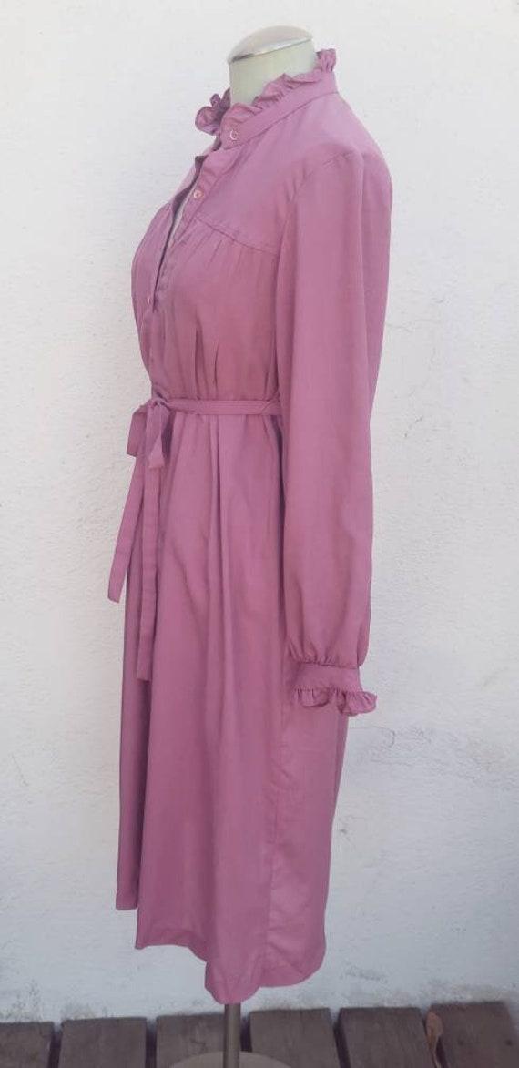 Vintage 1970s Mauve Shirt Dress Prairie Dress - image 3