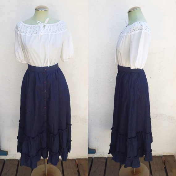 Vintage 1970s Jessica's Gunnies Denim Ruffled Skir