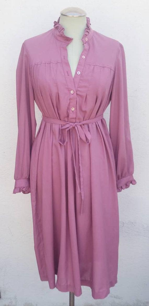 Vintage 1970s Mauve Shirt Dress Prairie Dress - image 2