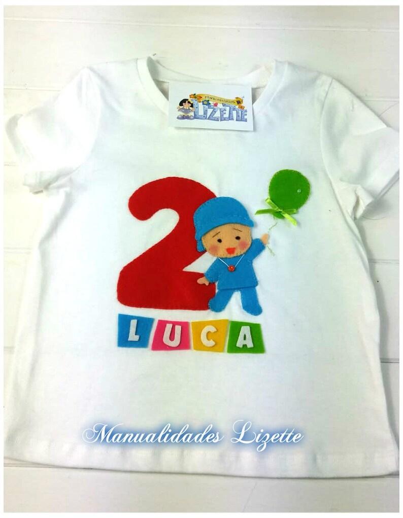f7e1927a5 Camiseta infantil-Pocoyó Cumpleaños-camiseta de manga