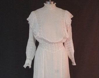 Edwardian Day Dress, Sheer Swiss Dot Cotton, 1910, Pouter, Pigeon