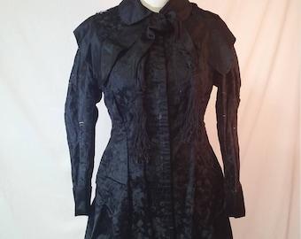 Verzierten Edwardian Seidenbrokat Mantel, Jacke, Damen, Quasten, 1910,  1900, Viktorianischen