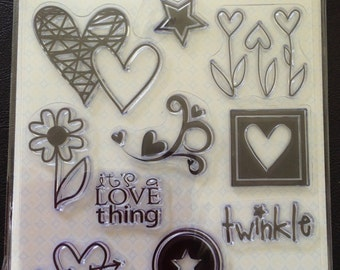 Clear Stamps, Theme Love Thing, Hearts, Stars, Flowers, Sentiments, Scrapbooking, Card Making, 12 Stamps Total, Stampology, Autumn Leaves