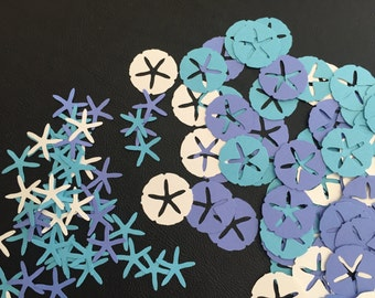 100 Sand Dollar and Starfish Die Cut, Beach Theme Confetti Decorations for Parties, Weddings, Embellishments, Scrapbooking, Card Making