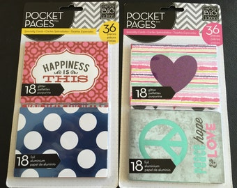 36 Pieces of Me & My Big Ideas Pocket Pages Specialty Cards – Foil and Glitter Designs, Embellishments, Scrapbooking, Cardmaking