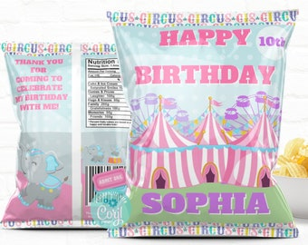 Personalized Pastel Carnival Circus Birthday Party Favors Chip Bag Template| Instant Download