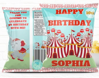 Personalized Carnival Circus Birthday Party Favors Chip Bag Template| Instant Download