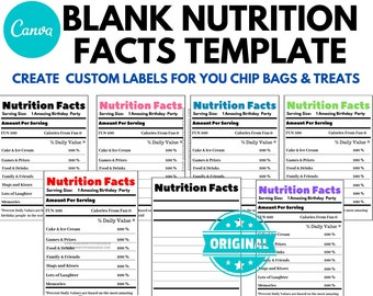 Blank Nutrition Facts Template |Chip Bags & Candy Bars | Barcode Included | Customizable Label Template| Canva Editable Template