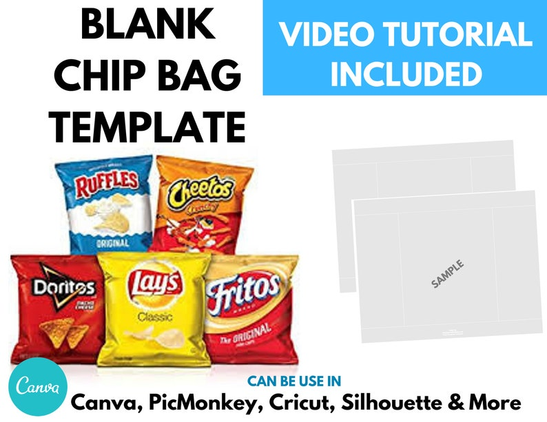Chip Bag Template Instant Download  Canva Chip Bag Template  image 0