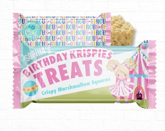 Personalized Pastel Carnival Circus Birthday Party Favors  Rice Krispy Labels