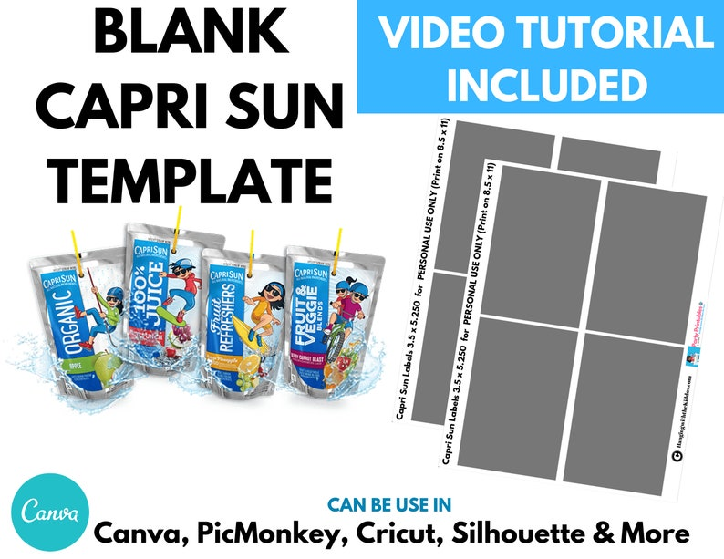 Blank Capri Sun Labels Template & Capri Sun Mockup Capri Sun image 0