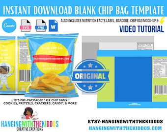 Chip Bag Template Instant Download | Canva Chip Bag Template | Chip Bag Template Cricut | Chip Bag Template for Silhouette