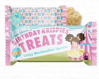 Personalized Carnival Circus Birthday  Rice Krispy Labels Party Favors