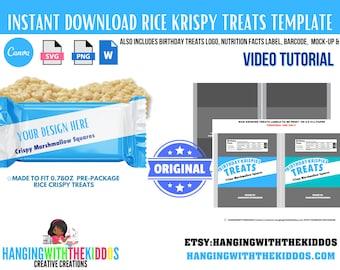 Rice Krispy Treats Template Instant Download | Make custom Treats | Video Tutorial Available
