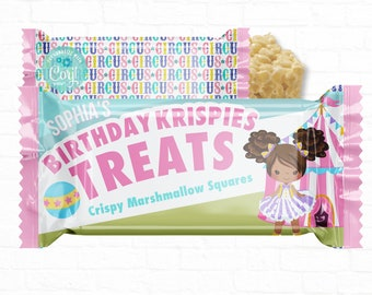 Personalized Pastel Carnival Theme Birthday Party Favor Rice Krispy Treat Labels