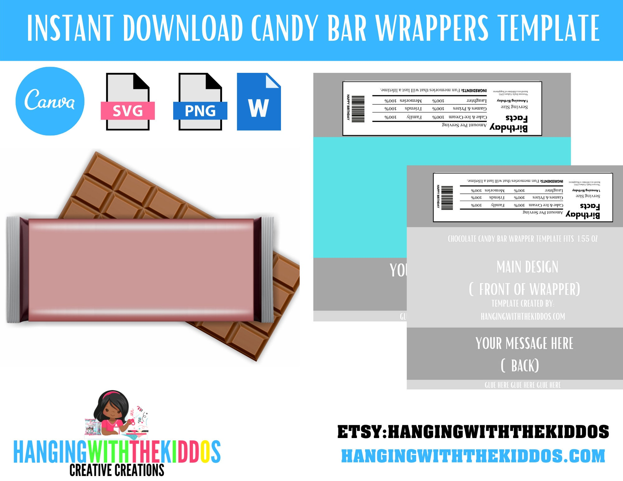 Chocolate Bar: Blank Candy Bar Wrapper Template Instant Download  Canva  Editable Template Within Blank Candy Bar Wrapper Template