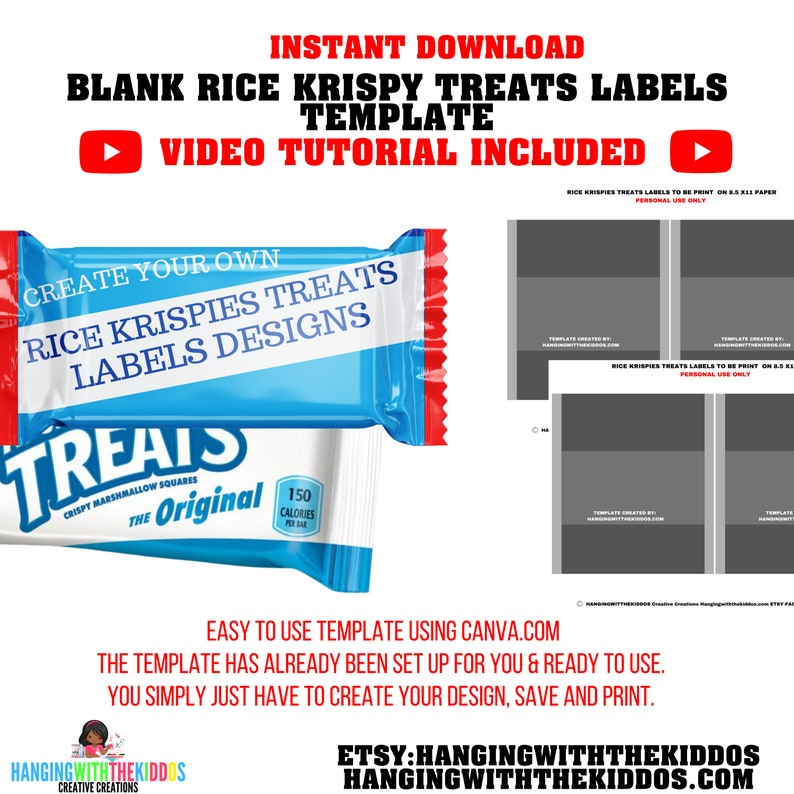 Rice Krispy Treats Template Instant Download  Make custom image 0