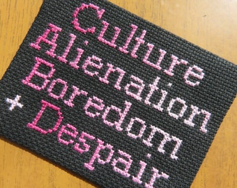 Culture Alienation Boredom and Despair Manics Sew On Badge Patch