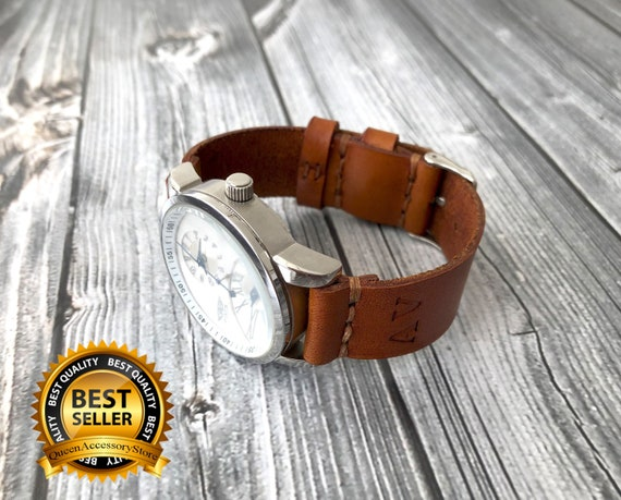 0549ae7e076121 Custom Leather Watch Strap / Handmade FREE Add initials / | Etsy