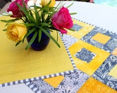 Yellow and Gray Modern Log Cabin Patchwork Table Runner, Gray and Yellow Modern Patchwork Table Topper, Modern Quilted Table Runner,
