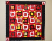 ON SALE Vibrant Red, Yellow, Black Handmade Patchwork Wall Hanging, Wall Art, Lap Quilt, Sofa Throw, Modern Version of Churn Dash Block