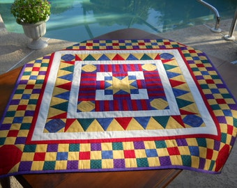 """Handmade Table Quilt, Patchwork Table Runner, Wall Hanging, """"Game Board"""", 40"""" x  40"""" in Primary Colors"""