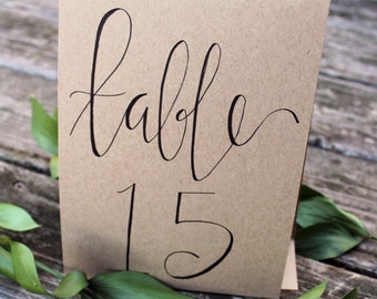 Hand-Lettered Table Numbers