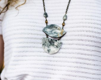 Symmetrical Marble Agate Necklace - Mother's Day Gift - Easter Jewelry - Lux Blue