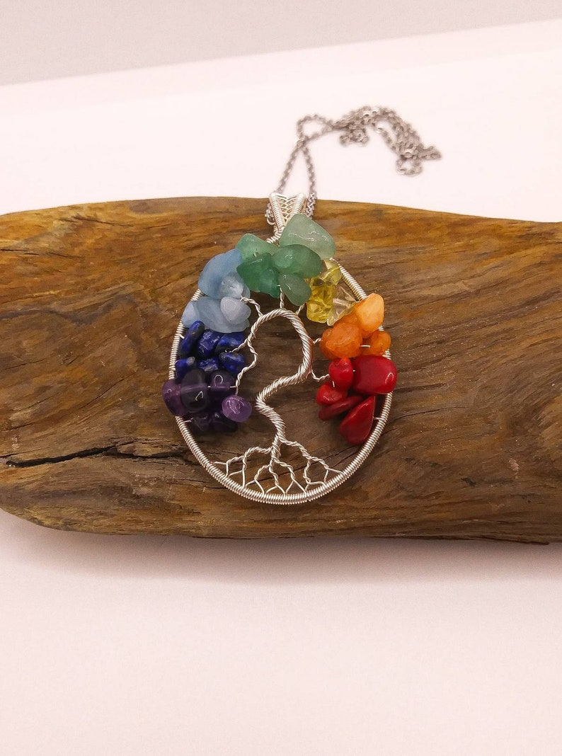 Yggdrasil Jewelry Wire Wrapped Chakra Necklace Unique Stunning Gift Natural Stone Necklace Rainbow Tree of Life Pendant