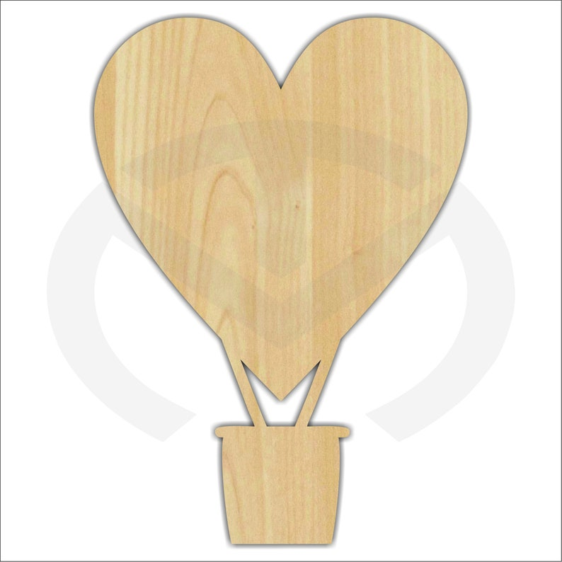 Unfinished Wood Heart Hot Air Balloon Laser Cutout Wreath image 0