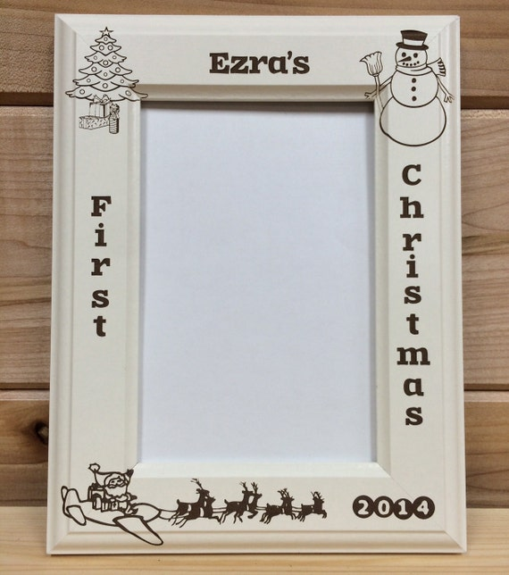 Picture Frame 1st Christmas 4x6 or 5x7 Laser Engraved   Etsy