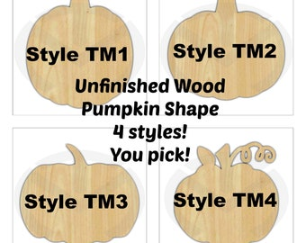 Pumpkin - 010102- Unfinished Wood Laser Cutout, Wreath Accent, Door Hanger, Ready to Paint & Personalize, Various Sizes and Shapes