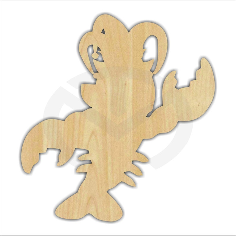 Unfinished Wood Mardi Gras Crawfish Laser Cutout Door Hanger image 0