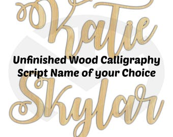 Calligraphy Script Name - 01643C- Unfinished Wood Laser Cut, Large Sizes, Nursery Decor, Room Decor