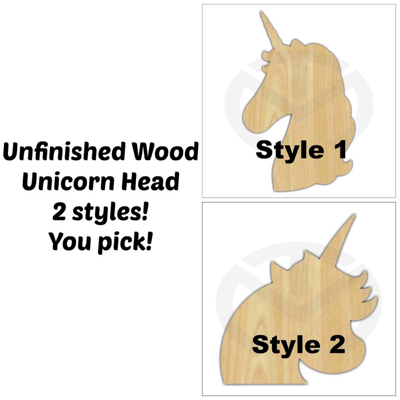 Unfinished Wood Unicorn Shape Laser Cutout Ready to Paint Wreath Accent