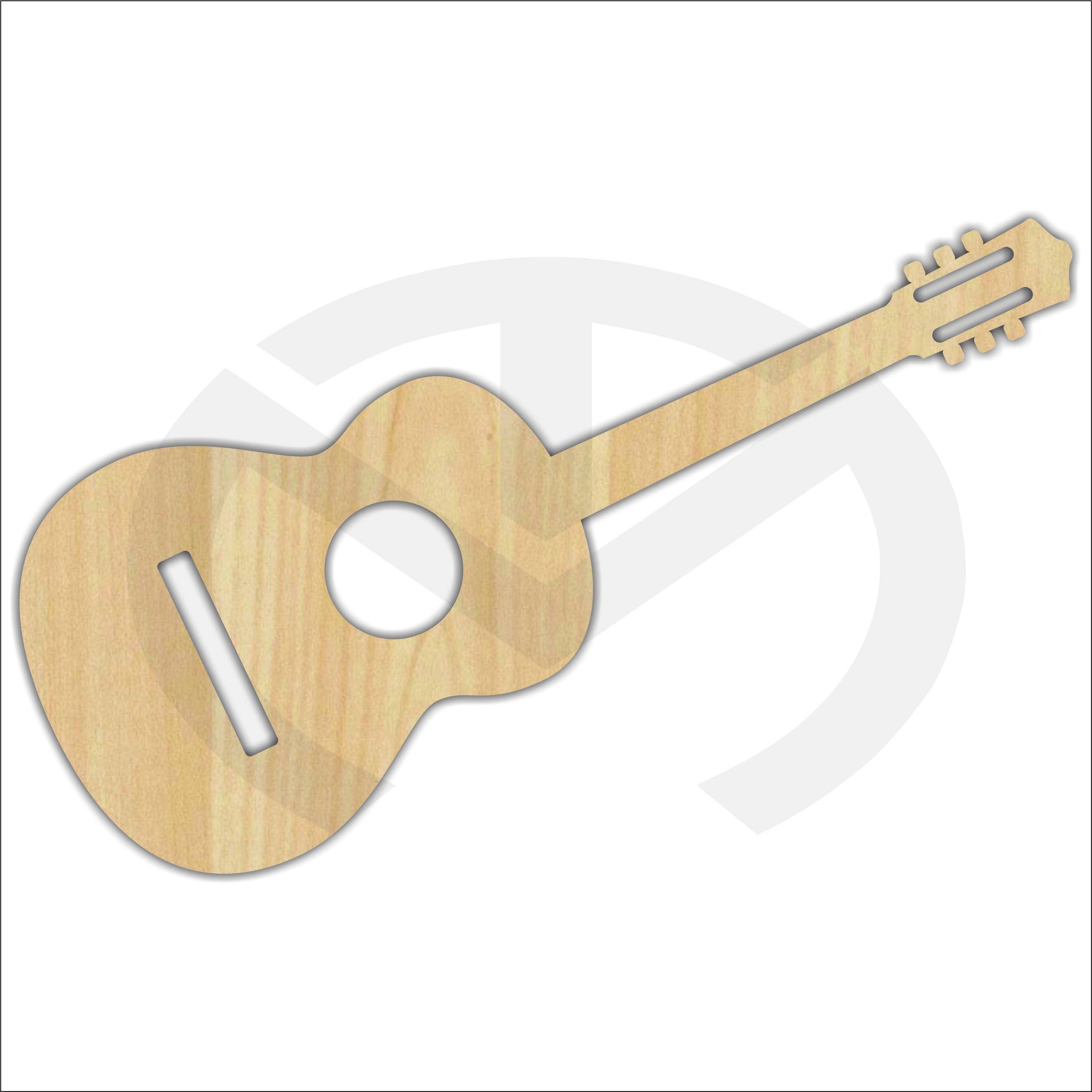 Unfinished Wood Laser Cut Acoustic Guitar Ready to Paint