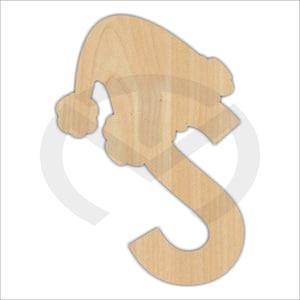 Alphabet with santa hat Wood Cut Out Door Hanger