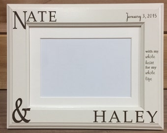 Picture Frame-Couple Names , 4x6 &  5x7, Laser Engraved, Personalized, Valentine, Wedding Gift